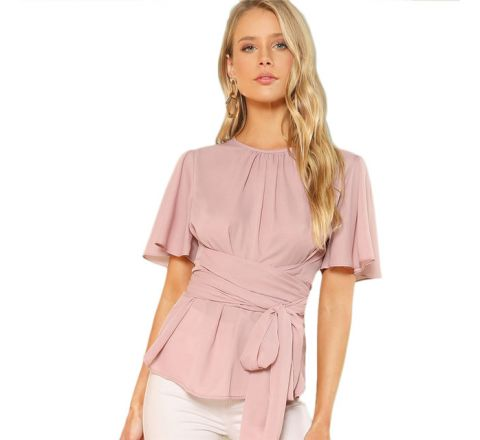 Formal Blush Pink Blouse with Attached Belt, Small