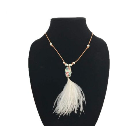 Exotichild Leather and Feather Necklace