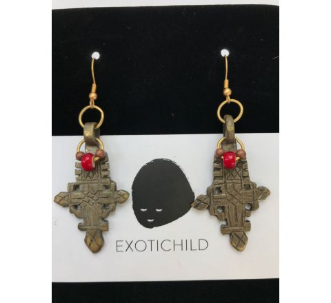 Exotichild Genuine Coptic Cross Earring EK9