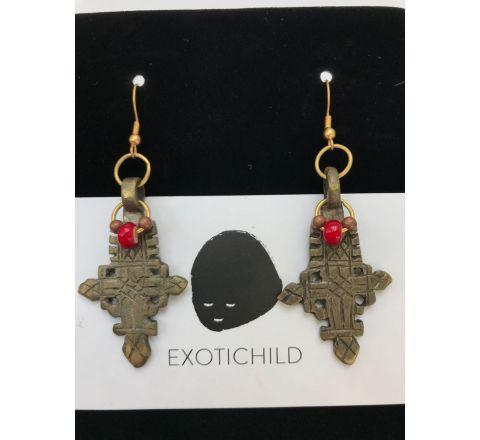 Exotichild Genuine Coptic Cross Earring EK9