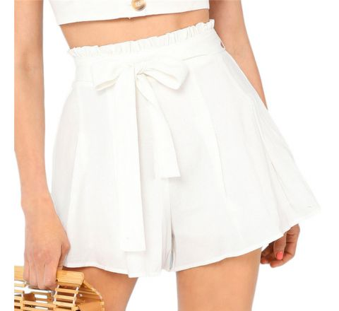 White Bohemian Style Beach Doll Mid Waist Shorts, Medium