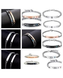 His and Hers 2 Pcs Couple's Stainless Steel Bracelet Sets