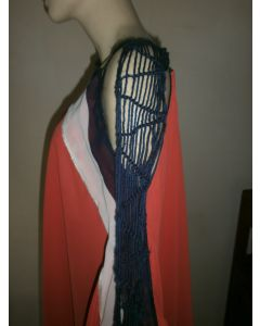 Fabulous one of a kind chiffon asymmetric Jamaica made poncho with cascading macrame scarf sleeve detail