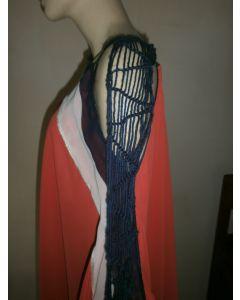 Fabulous one of a kind chiffon asymmetric Jamaica made poncho with cascading macrame scarf sleeve detail