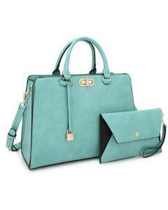 2pc Satchel Set W/Twist Lock Front Design - Turquoise