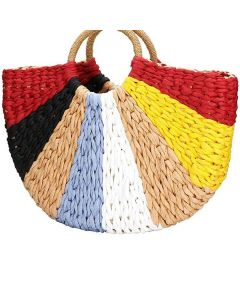 Straw Clutch Handle Bag