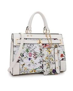 White/Floral 2pc Belted Design Satchel Set W/Padlock Decor