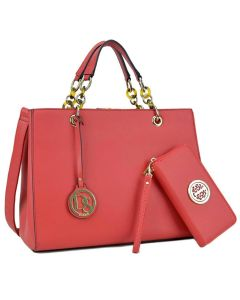 Faux Leather Chain Strap Satchel – Red