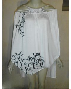 Jamaica made poncho with hand painted macrame neckline accent