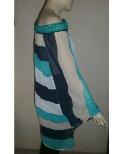 Beautiful Jamaica made Poncho with diagonal and vertical stripe accented on macrame neckline