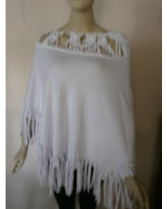 White Macrame Poncho with Tassels