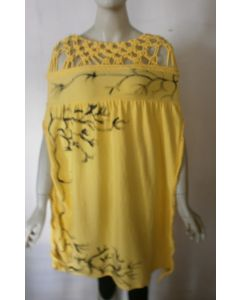 Yellow Poncho Macrame weave bodice front accent with side slits.