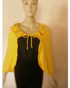 Jamaica made Macrame cape with adjustable tie front