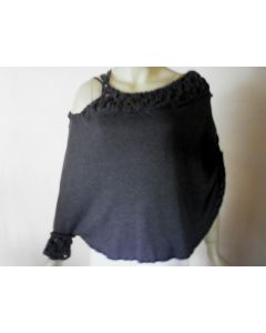 Sophisticated Grey Poncho with strap  and macrame detail