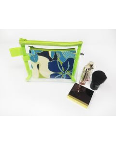 Clear and palm leaf, makeup Bag Set, Small