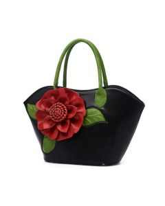 Flower Designed Zip Closure Satchel - Black