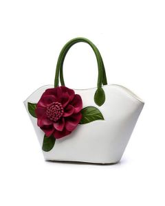 Flower Designed Zip Closure Satchel - White