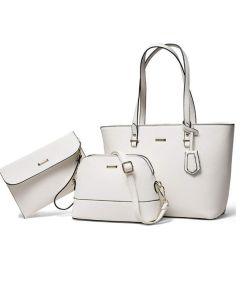 3pc Zip Closure Tote Set - White