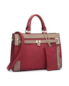 2pc Belted Design Satchel W/Padlock Décor-Red