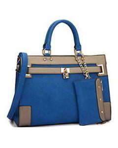 2pc Belted Design Satchel Set - Royal Blue/Bronze