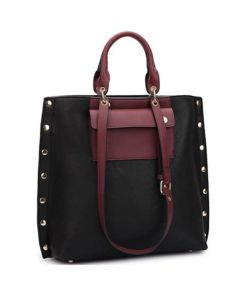 Tote Bag W/Side Studs - Black