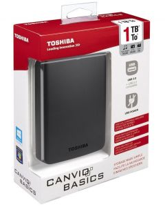 Toshiba HDTB310EK3AA 1TB Canvio Basics USB 3.0 Portable External Hard Drive - Black