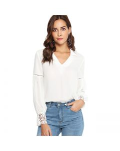 Elegant Angel White Top with Lace Sleeves, LArge