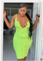 Neon Spaghetti Strap Dress, Medium