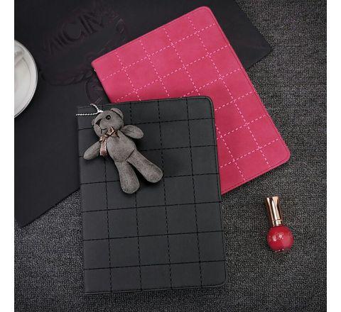 Ipad Air2 Leather bear Pendant Case (Black)